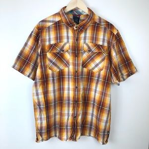 The North Face plaid button up short sleeve shirt